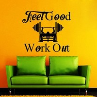 Wall Decals Quote Feel Good and Work Out Decal Vinyl Sticker Home Decor Mural Weight Lifting Workout Sport Gym Bedroom Interior Window Decals Living Room Art Murals