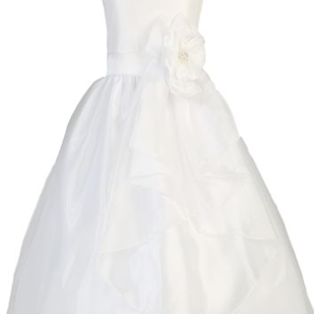 Crystal Organza & Shantung White First Holy Communion Dress with Long Front Sash (Girls Sizes 6 to 12)