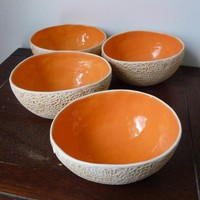 Cantaloupe BowlSet of 4 by vegetabowls on Etsy