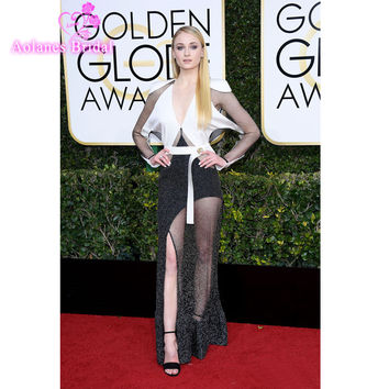 Sophie Turner V Neckline Long Sleeve Sashes Mermaid  Dress