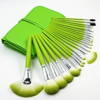 Party Queen 24 Pcs Pro Makeup Brushes Cosmetic Make up Kabuki Brush Set with Bag - Green