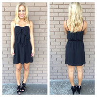 Black Scoop Bow Dress