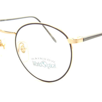Womens Eyeglasses, Round Eyeglasses, Big Black and Gold Metal Eyeglasses, Vintage New old Stock