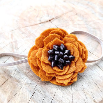 Burnt Orange Felt Flower Headband, Fall Colors Felt Flower Headbands, Felt Headband, Baby Headband, Newborn Photo Prop