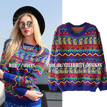 SW94 Celebrity Style Women Tribal Aztec Digtal Print Fitted Knitted Sweater Jumper Tops Pullover Knitwear 2016 New Free Shipping