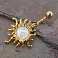14kt Gold Belly Button Ring Celestial Sun