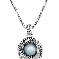 Women's David Yurman 'Crossover' Pearl Pendant with Diamonds on Chain