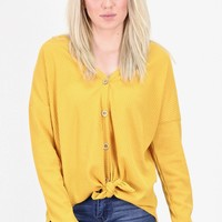 Must Have Solid Thermal Button +Tie Front L/S {Mustard}