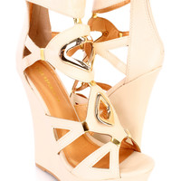Nude High Polish Cut Out Platform Wedges Faux Leather