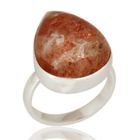 Handmade High-Polish Solid 925 Sterling Silver Natural Sunstone Ring