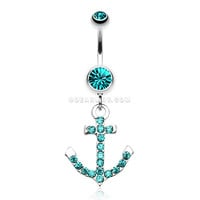 Anchor Gem Sparkle Belly Ring (Teal)