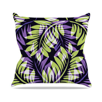 "Alison Coxon ""Dark Fern"" Green Purple Throw Pillow"