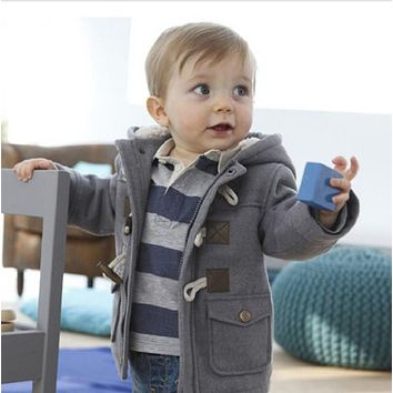 Baby Boys Outerwear Jacket 2016 New Winter Clothes 2 Color Infant Coat Cotton Thick Kids Clothes Children Clothing With Hooded