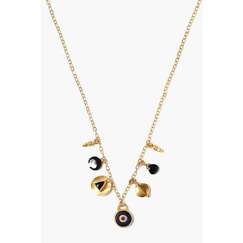 Chan Luu Black Mix Evil Eye Charm Short Necklace