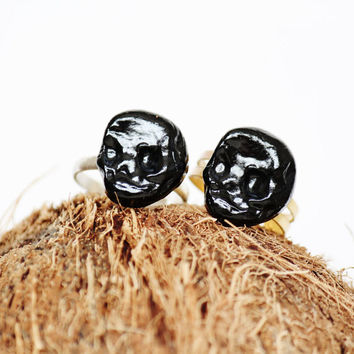 Black Skull Ring - Handmade - Air Dry Clay - Abstract