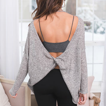 Leave You Lonely Backless Twist Top (Black)