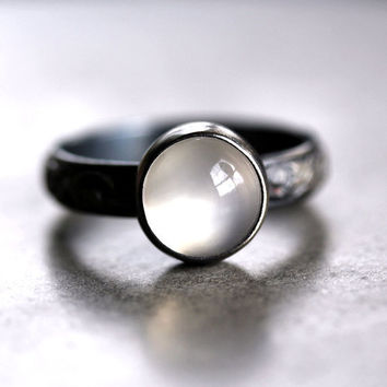 White Moonstone Ring Ghost White Gemstone Oxidized by TheSlyFox