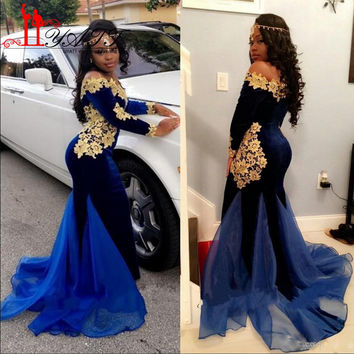 Black Girl Long Sleeves Evening Dresses 2K17 Royal Blue Velvet Prom Dress With Gold Lace Floor Length Mermaid African Gown LY487