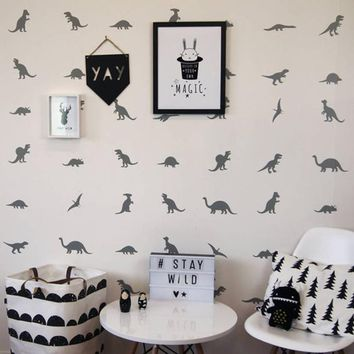 Cartoon Dinosaur Wall Sticker Children Room Cute little Dinosaur Wall Decal Baby Nursery Animal Home Decor Cut Vinyl Removable