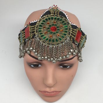 Kuchi Headdress Headpiece Afghan Ethnic Tribal Jingle Alpaca Silver Glass,CK633