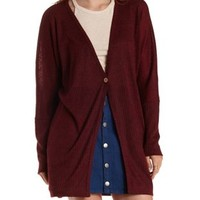 Burgundy Ribbed Slouchy Duster Cardigan by Charlotte Russe