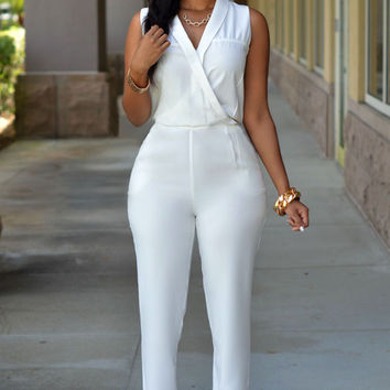 White High Waist Jumpsuits