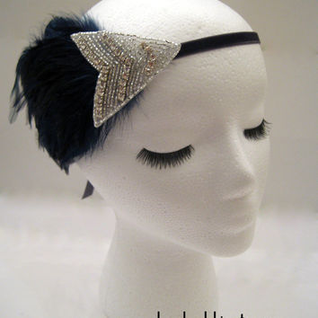 The Edith - Navy blue Gatsby feathered headdress, 1920s flapper hairpiece, feather headband, Downton Abbey, burlesque costume, art deco hair