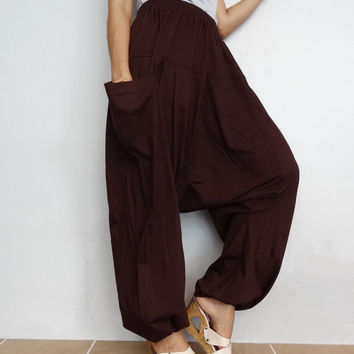 Brown Drop crotch long trouser,Unisex Yoga unique Baggy harem pants, cotton blend In Dark Chocolate (Drop pants-33).