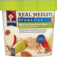 Quaker Real Medleys Instant Oatmeal, Steel Cut, Apple Pear Pecan, Breakfast Cereal, 2.11oz Cup (Pack of 12 Cups)