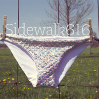 Light Pink Mermaid Bikini Bottoms Shiny Fish Scale