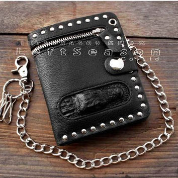 Men's Black Bifold Leather Chain Wallet Biker Punk Gothic
