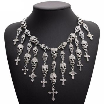 Skull Cross Statement Women Choker Necklaces