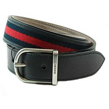 Gucci Women's Web Leather Belt 368189 9497 (Blue/Red, 95/38)