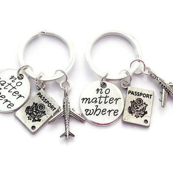 BFF Keychains, Travel Buddies, Friendship Keyrings, I'll Miss You, Set of Long Distance Present, Male Friend Gift, Lesbian Couple, Quirky