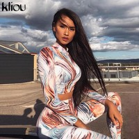 Kliou 2018 3D striped print full sleeve turtleneck women 2 pieces tracksuits Active Wear female sporting fitness leggings sets