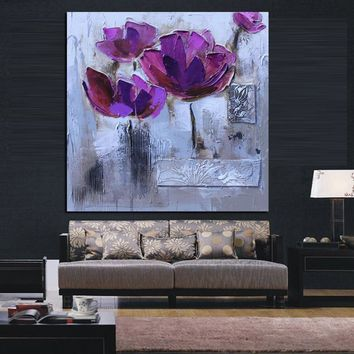 Print Modern Abstract Knife Purple Poppies Oil Painting on Canvas Pop Art Poster Wall Picture For Living Room Sofa Cuadros Decor