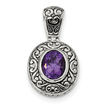 Sterling Silver Antiqued Oval Amethyst Pendant QP4998