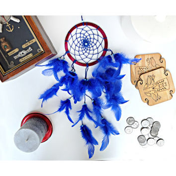 Dreamcatcher, Blue Dreamcatcher, Boho Dreamcatcher, Hippie, Wall Hanging, Home Decor, Talisman, Handmade