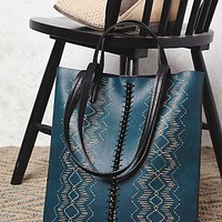 Free People Womens Captivated Bead Vegan Tote