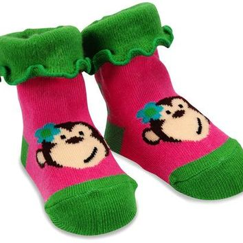 Pink and Green Monkey Baby Socks 0-12 Months