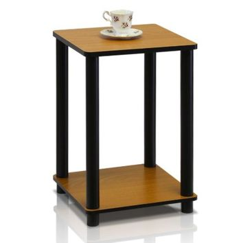 Furinno 99800R-LC/BK Turn-N-Tube End Table, Light Cherry/Black