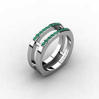 Mens Modern 14K White Gold Emerald Cluster Wedding Ring G10042-14KWGEM