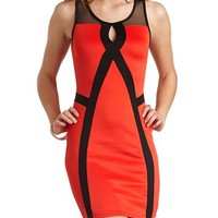 MESH CUT-OUT COLOR BLOCK DRESS
