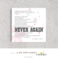 Never Again by JUSTIN TIMBERLAKE Valentine printable lyric printable love song printable Valentine prints love art prints printable lyrics