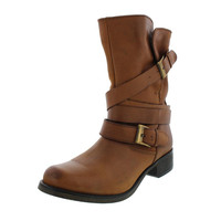 Steve Madden Womens Brewzzer Leather Belted Mid-Calf Boots