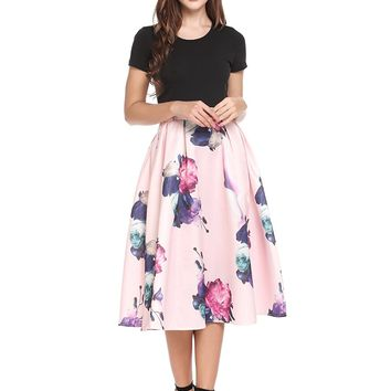 Women's Short Vintage Dress Formal Swing Tea Party Dress