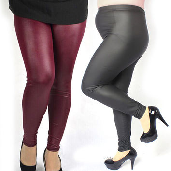 Sexy Women Plus Size High Waist Stretch Faux Leather Leggings Pants 3XL 4XL