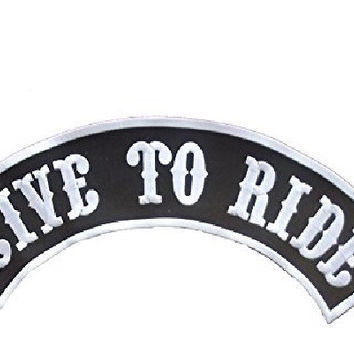 Live to Ride Top Rockers Back Patch White on Black for Biker Motorcycle vest