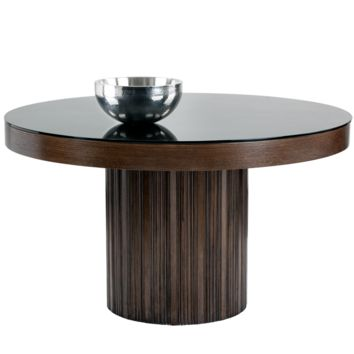 JAKAR SOLID ESPRESSO WOOD WITH BLACK TEMPERED GLASS TOP ROUND DINING TABLE 51""