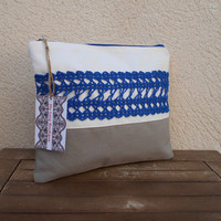 Large Canvas Makeup Bag, Lace Cosmetic Bag, Crochet Lace Pouch, Blue Clutch, Zippered Travel Bag, Gift For Woman